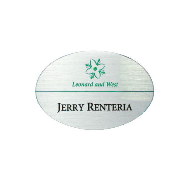 Satin Silver Oval Name Tag