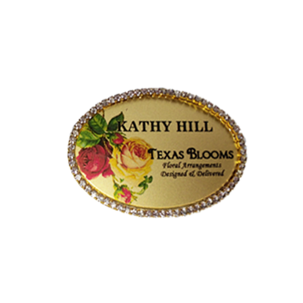 Gold Oval Rhinestone Name Tag