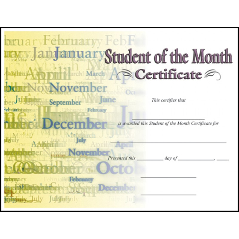 Certificate Student Of The Month C7030