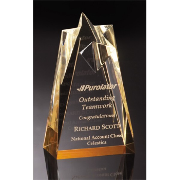 "ACRYLIC AWARDS CP14 GOLD STAR 3½""x 6""x 2"""