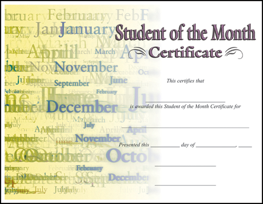 student of the month award template